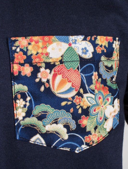 POCKET TEE - NAVY - FLOWER FESTIVAL