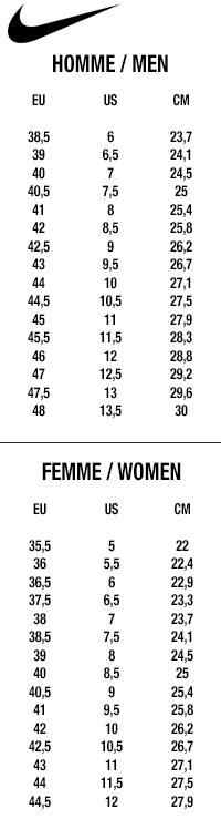 Nike Sizes chart